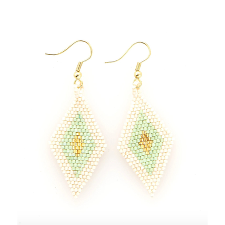 Mint Gold/Ivory Border Diamond Earring