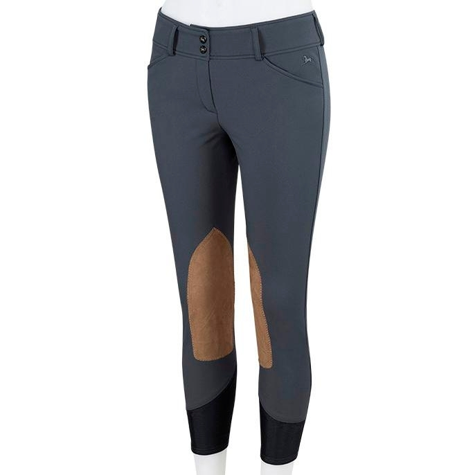 Ladies Gulf Low Rise Knee Patch Breech (Graphite with Tan Patch)