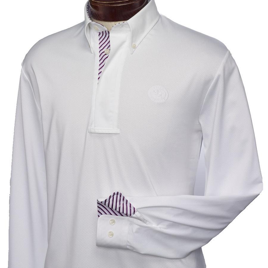 Mens Talent Yarn Lorenzo Long Sleeve Show Shirt (White/Burgundy Stripes)