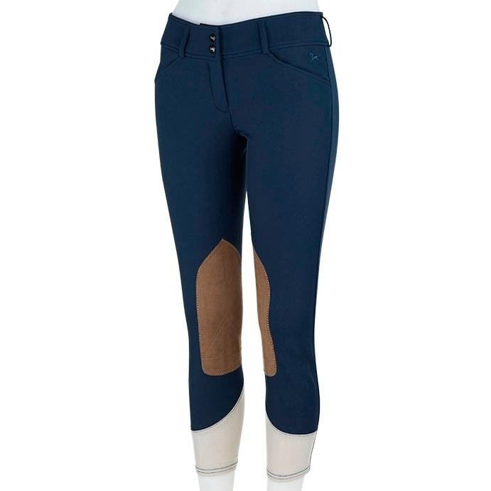 Ladies Gulf Low Rise Knee Patch Breech (Navy with Tan Patch)