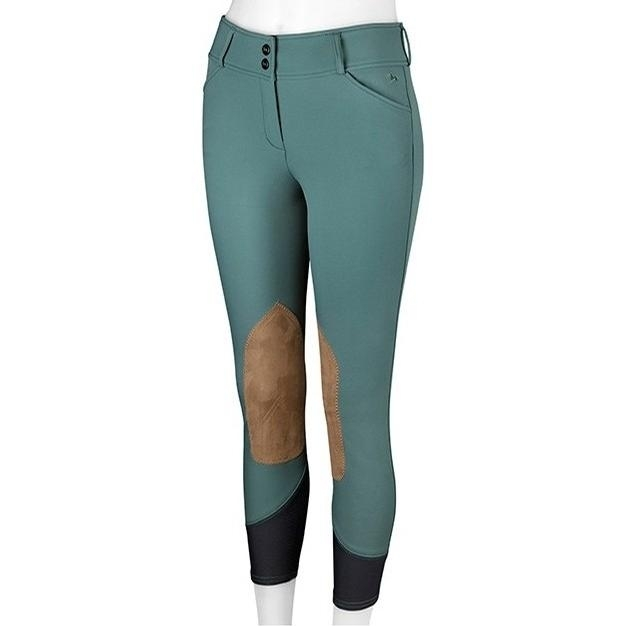 Ladies Gulf Low Rise Knee Patch Breech (Mallard with Tan Patch)