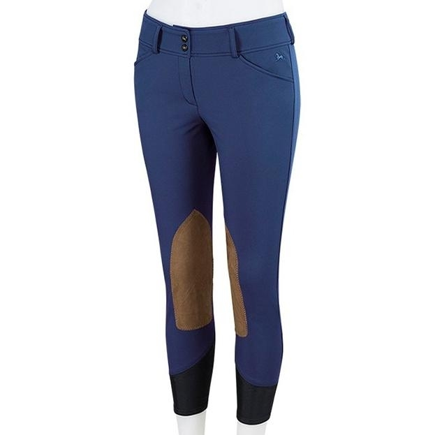 Ladies Gulf Low Rise Knee Patch Breech (Deep Blue with Tan Patch)