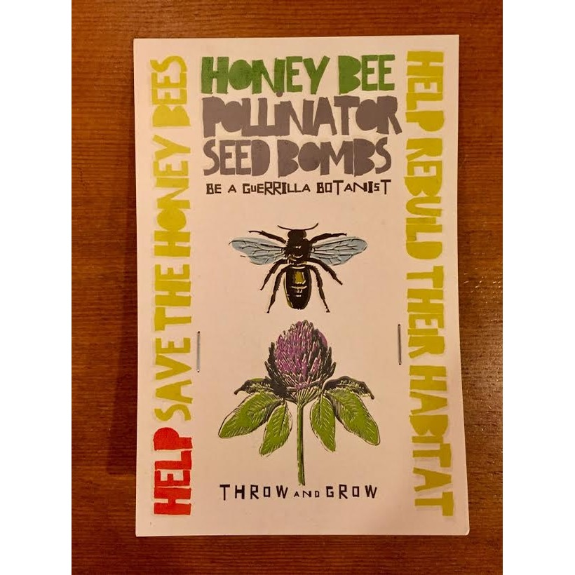 Honey Bee Pollinator Seed Bombs Card
