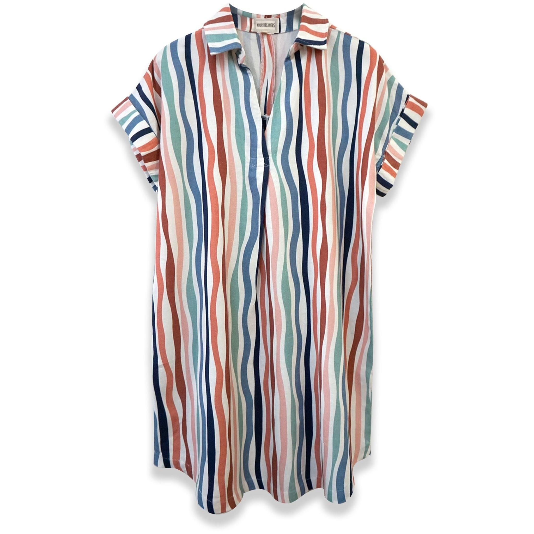 Wavy Stripe Short Sleeve Popover Dress (Stripe)