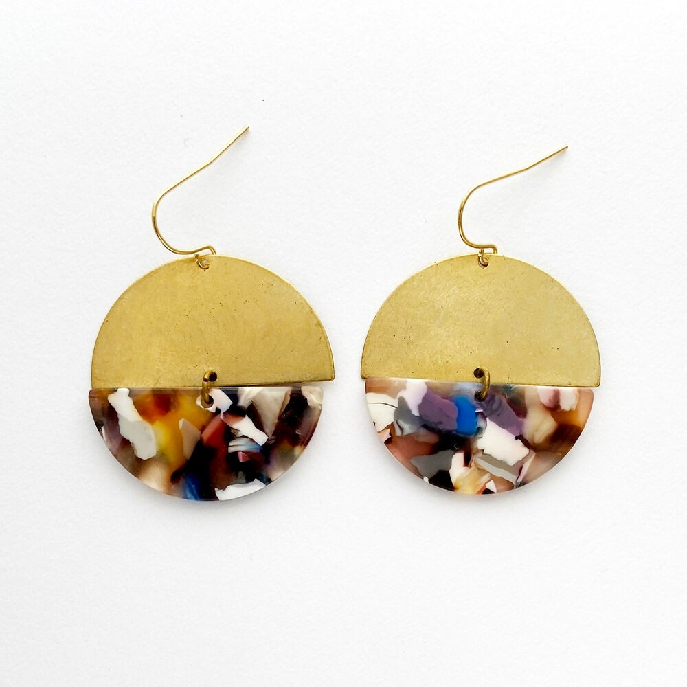 Alkaline Brass and Acetate Earring (Mineral Multi)