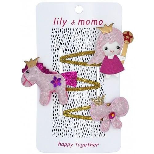 Princess Trio Hair Clip (Shiny Pink)
