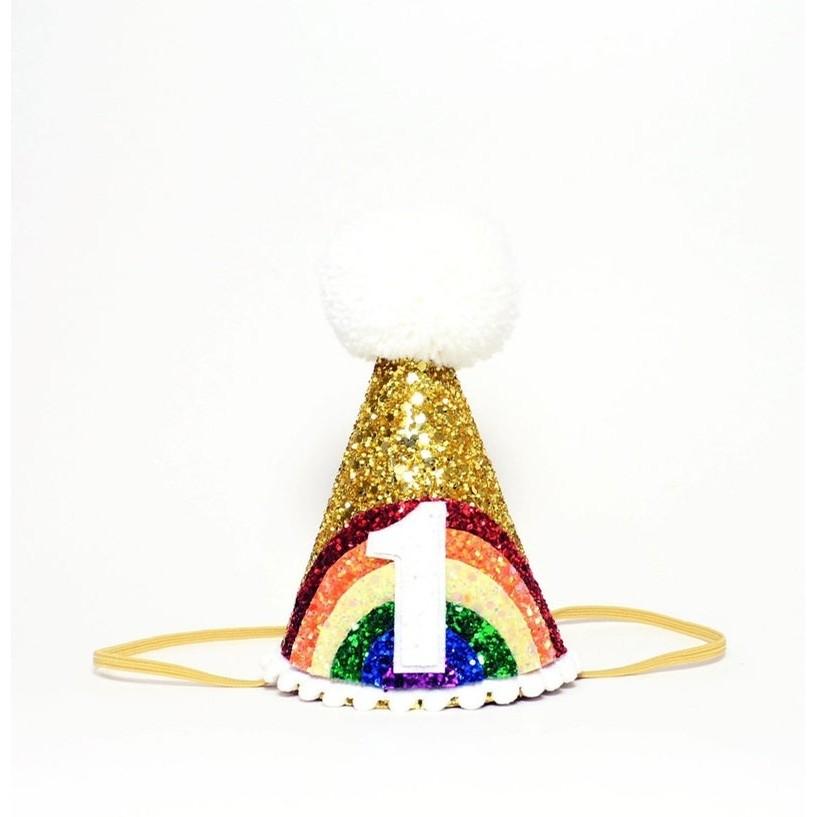 Large Bright Rainbow Party Hat (Gold/Rainbow/White Pom