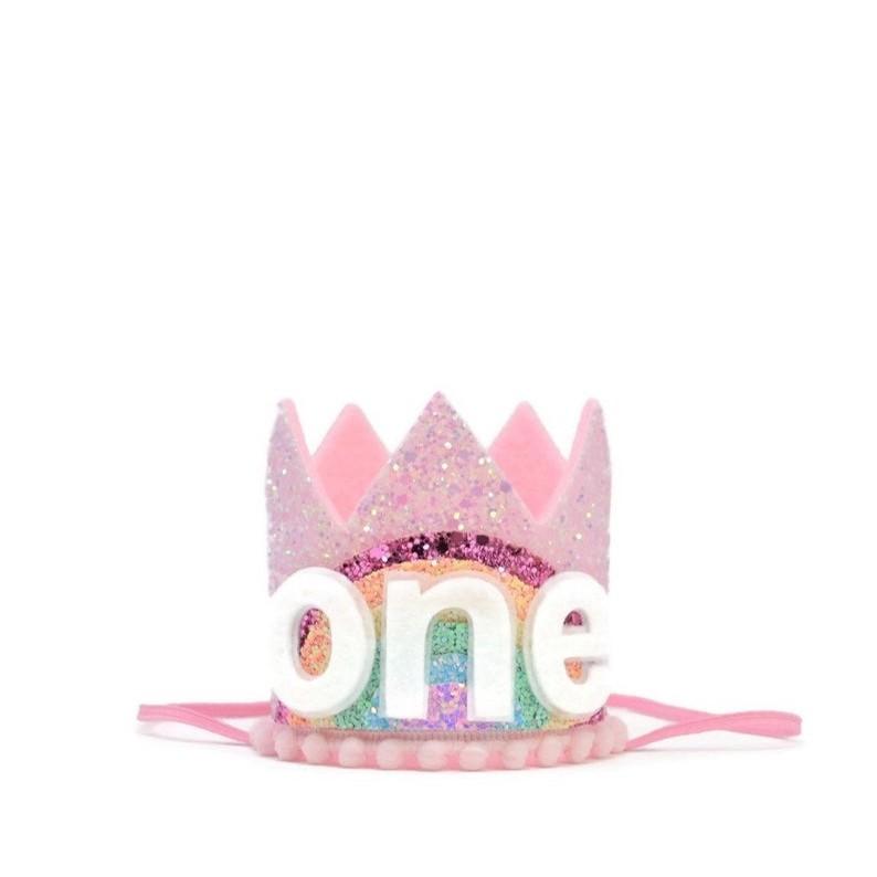 Pastel Rainbow Crown (Pink/Rainbow/Pink Pom)
