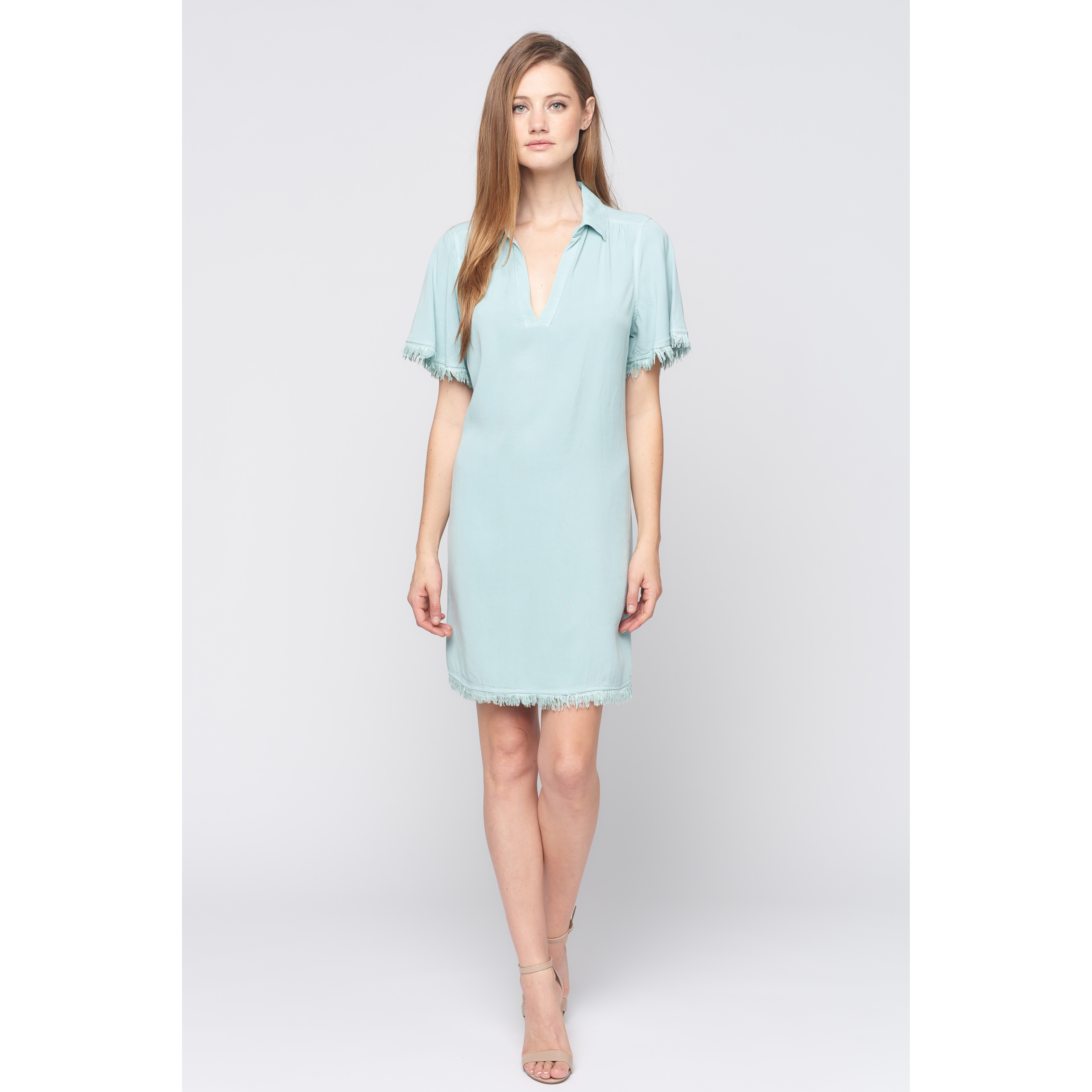 Frayed Sleeve Dress (Seaglass)