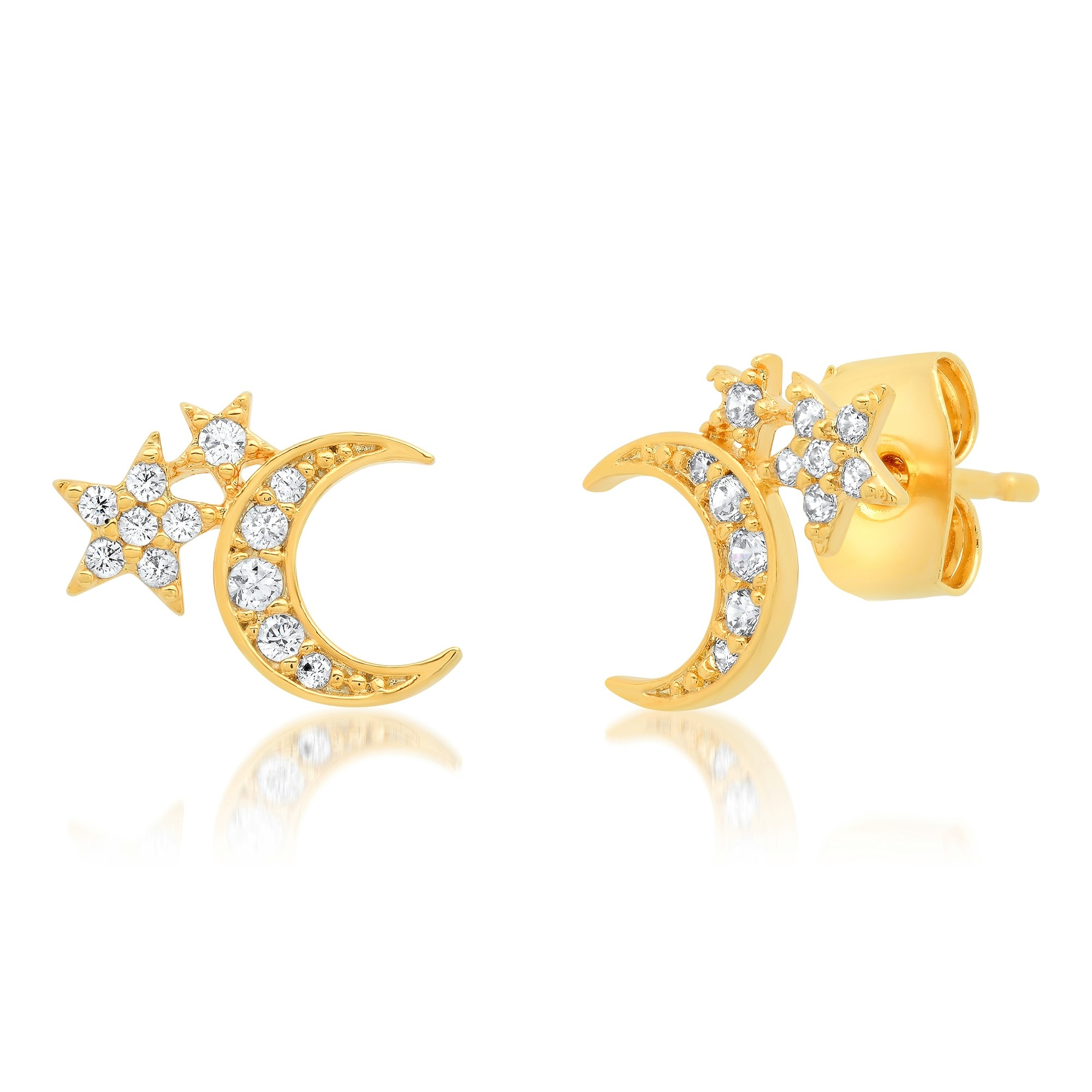 Half Moon Double Cluster Post Earring (Gold)