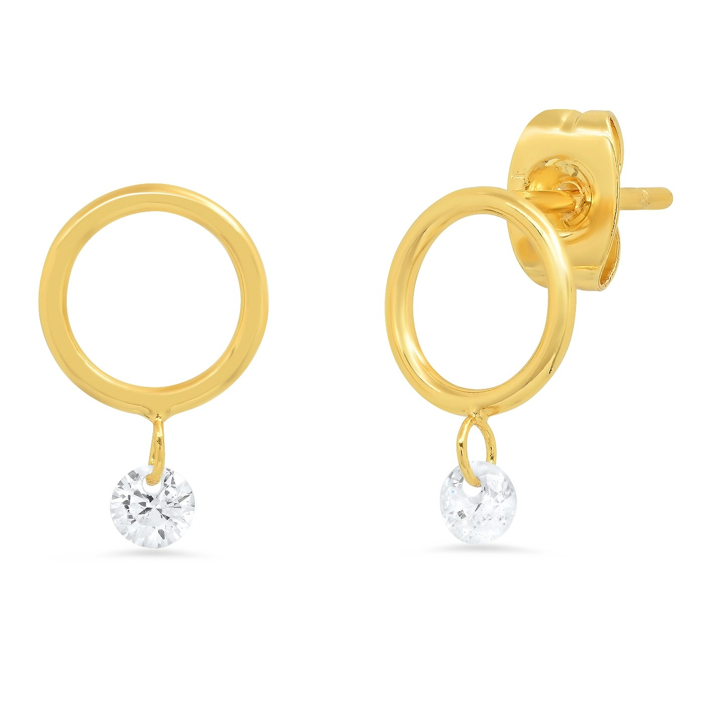 Small Open Circle with Floating CZ Post Earring (Gold)