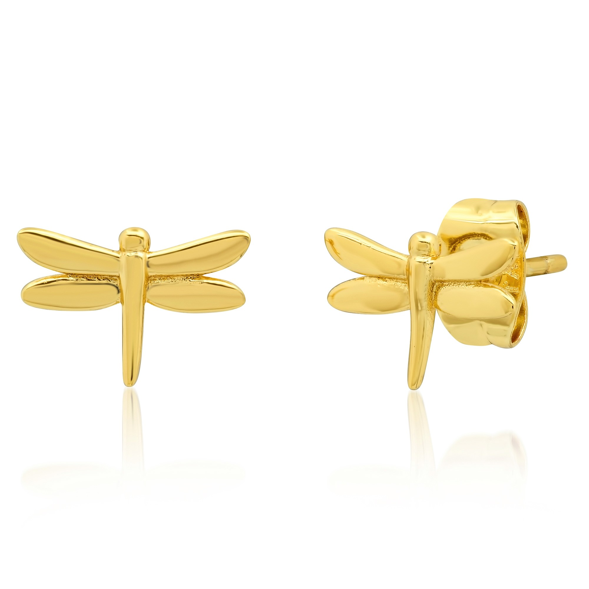 Simple Dragonfly Post Earring (Gold)
