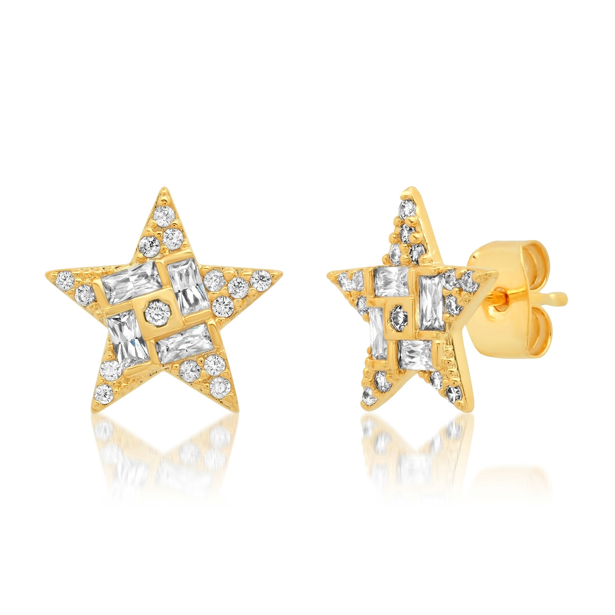 Star Mixed Size CZ Post Earring (Gold)
