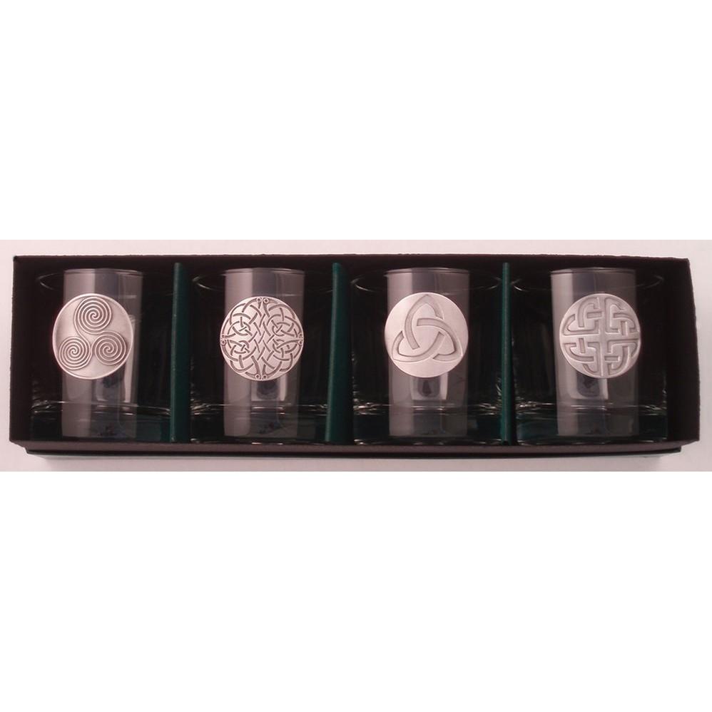 Irish Brass Celtic Design Lo-ball Glasses (set of 4)