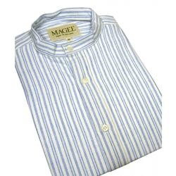 Magee Clothing Grandfather Shirt Double Blue Stripe