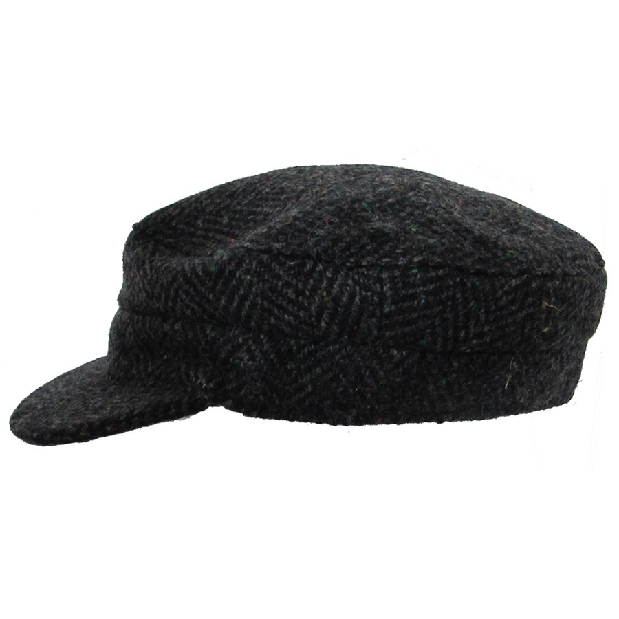 Dark Herringbone Skipper Cap