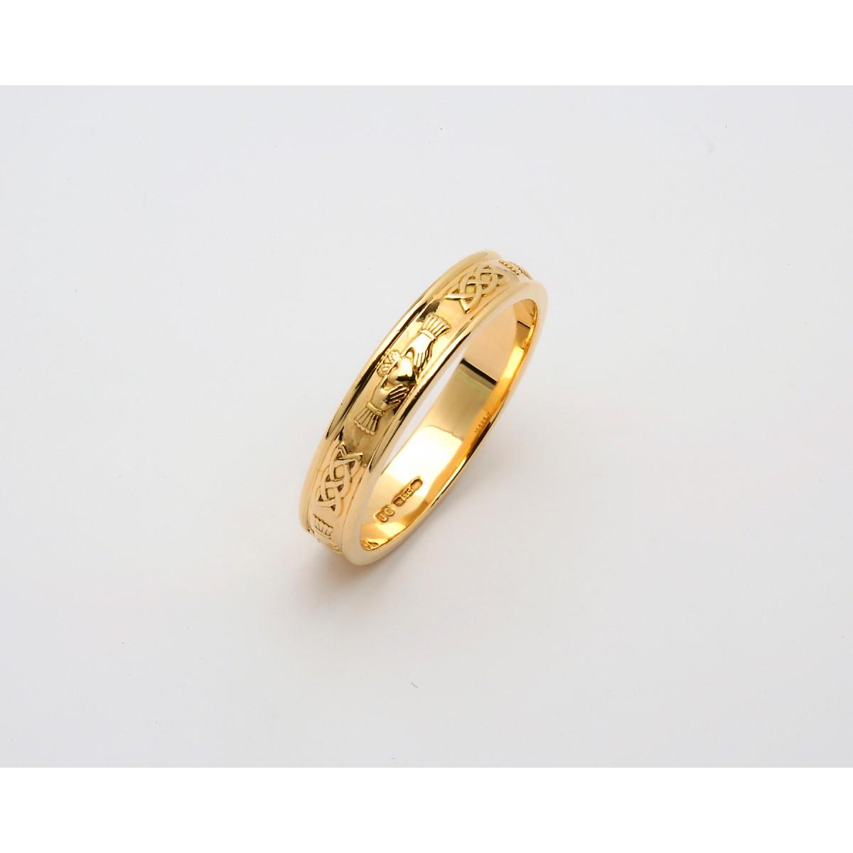 Fado Jewelry Yellow Narrow Corrib Claddagh Wedding Band