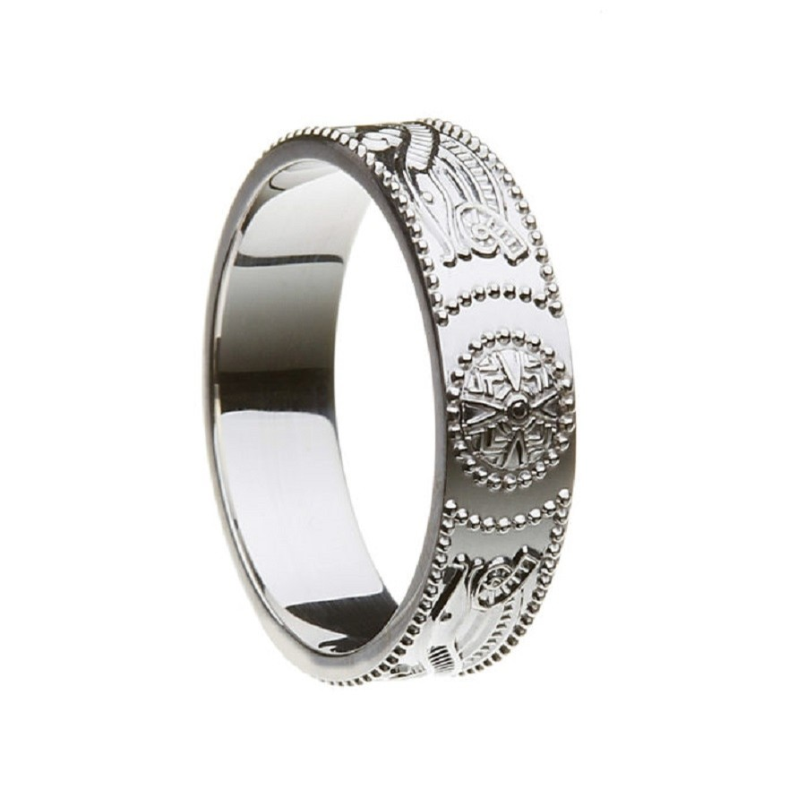 Celtic Warrior Shield Irish Wedding Ring Narrow