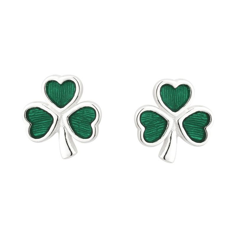 Solvar Jewelry Green Shamrock Stud Earrings