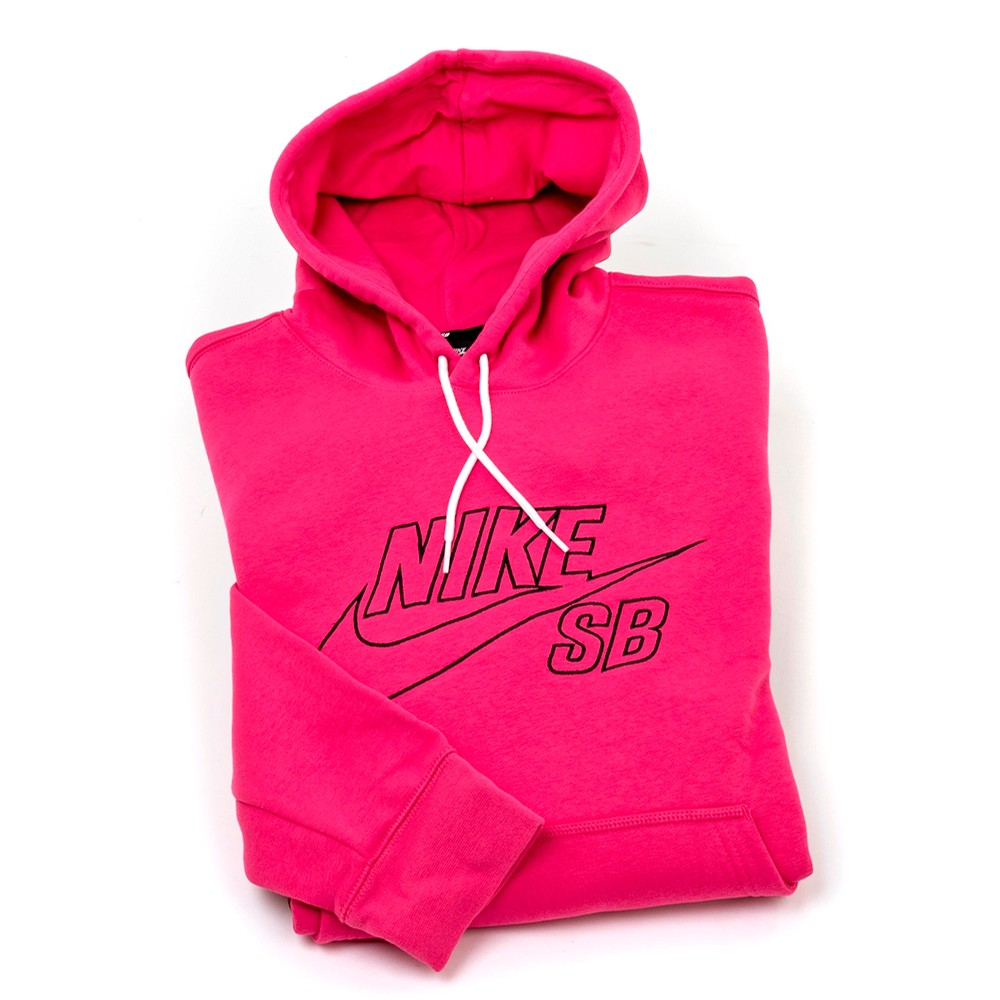 Embroidered P/O Hooded Sweatshirt (Pink)