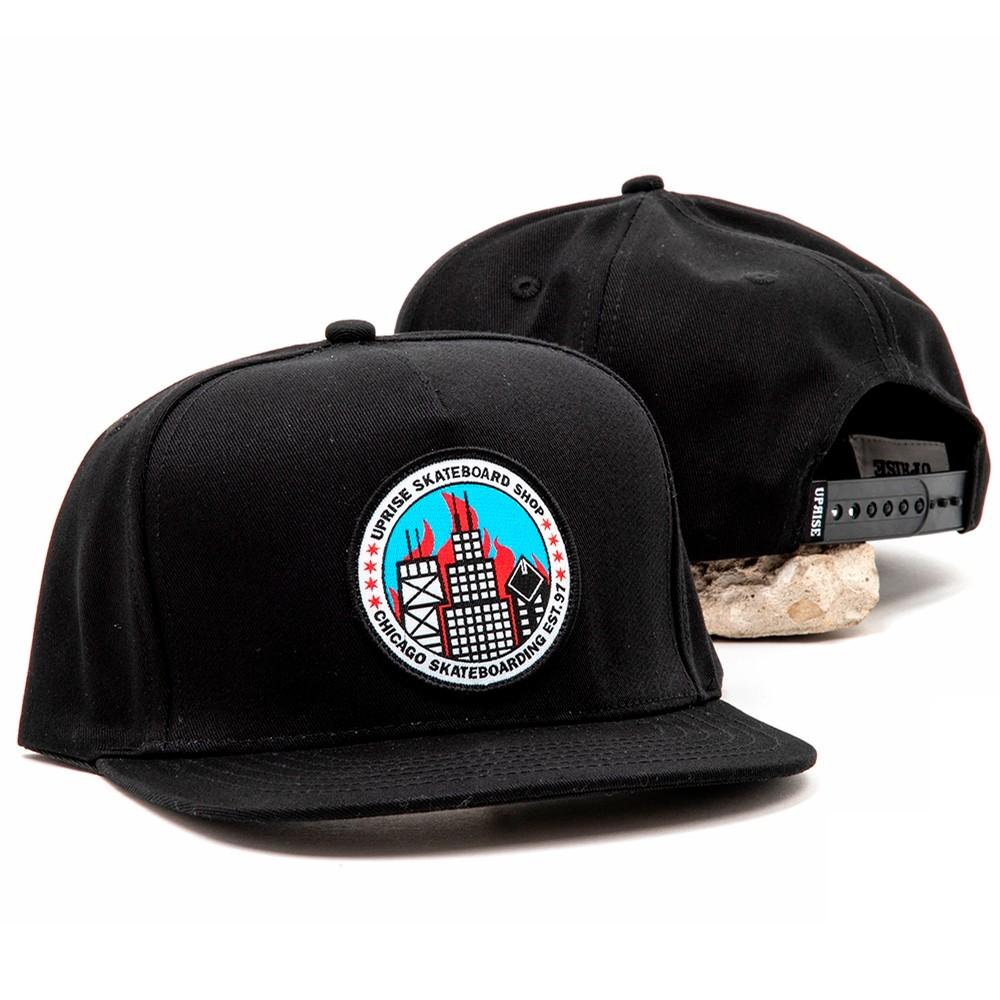 Uprise City Seal Snapback (Black / Flames)